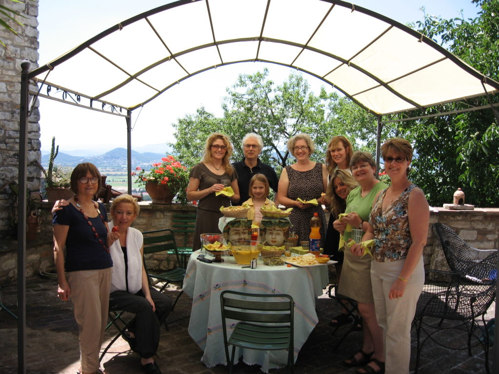 Elizabeth with a group in Italy